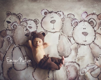 Knit Bear Hat Pants Set, Baby Bear Cub Newborn Knitted Cap, Infant Photo Prop, Longies, Neutral Tones, Chocolate Brown, Custom Colors Avail.