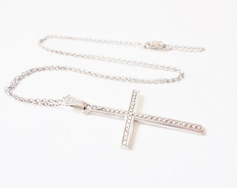 vintage sterling marcasite cross pendant on sterling silver chain necklace religious jewelry