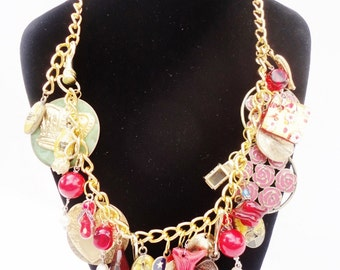 chunky charm necklace OOAK lots of vintage charms gold tone chain