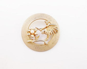 Fairy brooch fairy pin Fairy with flower pin Fairy with flower brooch whimsical brooch