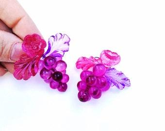 Vintage purple grape earrings purple flowers earrings fruit earrings pierced jewelry