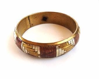 vintage bangle bracelet braided Tri-color metal made in India wide ethnic bracelet
