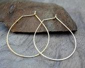 Gold Teardrop Earrings - Teardrop Shaped Hoops