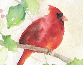Cardinal Watercolor Christmas Card Set of 10 - Holly - Holidays - Seasons Greetings