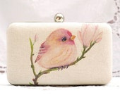 Bird On Branch Magnolia Box Clutch Hand Dyed Pink Green Beige Chain Bag Prom Clutch Ivory Linen Bridesmaid Bridal Wedding Gift Minaudiere
