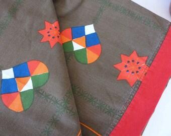 1970's Scandinavian Christmas large table cloth