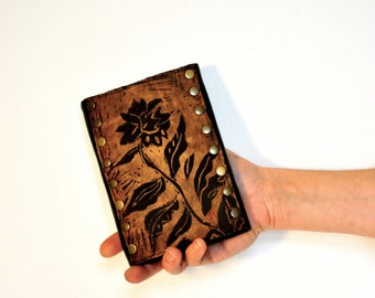 Leather Clutch Wallet in Dark Chocolate with Daisy Print