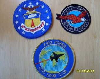 Military Patches, Fabric Patches, Pratt & Whitney Fabric Patches (3 patches)