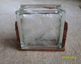 Vintage Hawaiian Etched Glass Block, Etched Glass Vase,  Hale Pua, Frank Oda, Glass Block