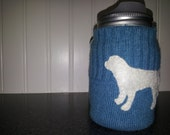 Upcycled merino wool mason jar cozy-pint size, blue green, light lab detail