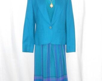 Vintage Skirt Suit 3 Piece Suit Pendleton Wool Blue Wool Suit Women's Long Skirts Women's Suit