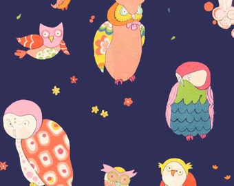 Spotted Owl fabric Navy - Alexander Henry Scenic 1 Yard Fabric