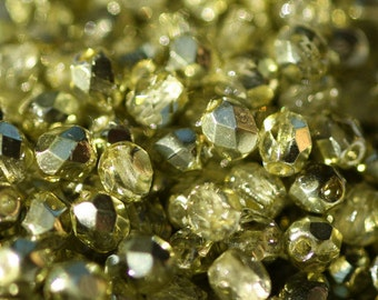 50 pieces of Coated / Olivine Green 4 mm fire polished czech crystal beads (CZ04-199)