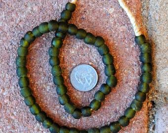 Ghana Glass Beads: Dark Green 9mm