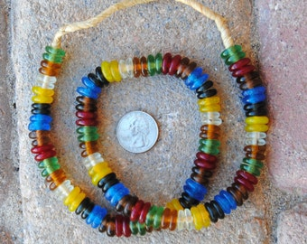 Ghana Glass Disk Beads: Mixed Colors
