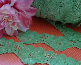 "Go Green! 5 yards 1 1/2"" wide ( 38mm ) Stretch spearmint green scalloped edge wedding bridal lingerie lace trim ST"