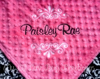 Personalized baby blanket- fuschia with black and white damask- baby stroller blanket