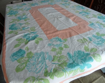 "Vintage Blue Floral Cotton Tablecloth 61"" x 48"""