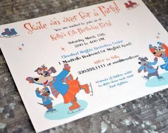 Kids Puppy Dog Ice Skating Party Invitations /  Kids Skating Birthday Party Invitations / Dog Party Invite/ Kids Puppy Dog Party Invite