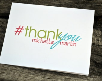 Hashtag Thank You Cards / Bridal Shower Thank You Notes / Personalized Wedding Thank You Cards / Social Media Stationery