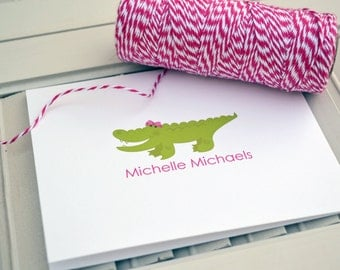 Girls Gator Personalized Stationery / Personalized Stationary / Personalized Note Cards / Stationery Set - Girls Gator Notes Design