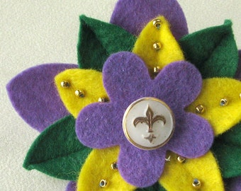 Mardi Gras Felt Flower Pin with Vintage White and Gold Fleur de Lys Button and Beads - Handmade Boutonniere