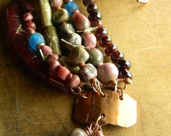 Rustic Copper Bracelet Pink Red Blue Southwestern Jewelry