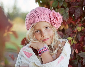 Pink Girl's Beret with Flower, Crochet Hats for Girls, Slouchy Hat, Crochet Slouch Hat, Crochet Girl's Hats, 5T - Teen