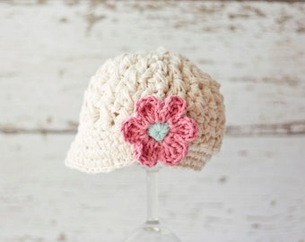Ivory Baby Girl Hat in Cotton - Crochet Baby Hat with Flower, Baby Newsboy Hat, Baby Girl Beanie, 0 to 12 Months, Prairie Blossom Boutique