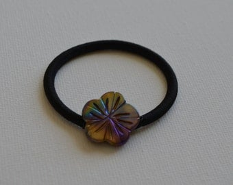 Shell flower metallic bead, ponytail holder