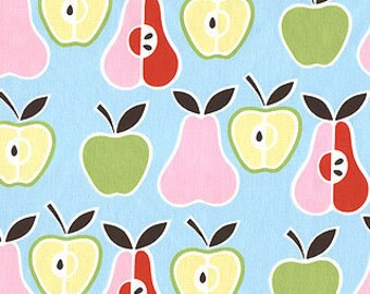 Alexander Henry Ah apples and pears on blue fabric
