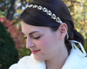 Ivory Bridal Headband, Gold Bridal Headband, Wedding Hairband, Bridal Hairband, Bridal Ribbon Halo, Wedding Headpiece
