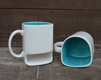 White with Bright Teal - Ceramic Cookies and Milk Dunk Mug - Ready to Ship