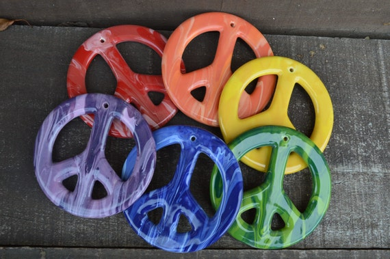 Set of 6 Swirly Rainbow Peace Sign Tie Dye Ceramic Ornaments - Large - Drilled Holes