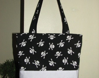 Classic Tote Bag - Large Quilted Handmade - Skulls - Black and White