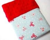 Baby Blanket / Comfort Blanket / Small Baby Girl Blanket / 15 x 16 inches / Blue Blanket / Red Minky Blanket