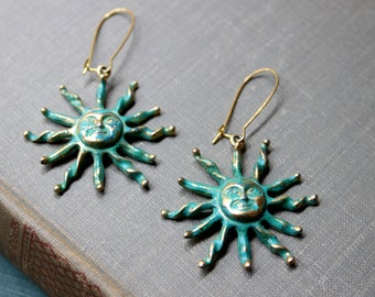 Verdigris Patina Sun Earrings