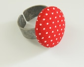 Red and White Polka Dot Button Ring