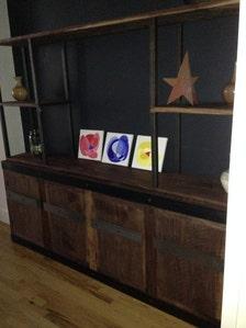 Sideboard Buffet Console Storage Bookcase Walnut Steel