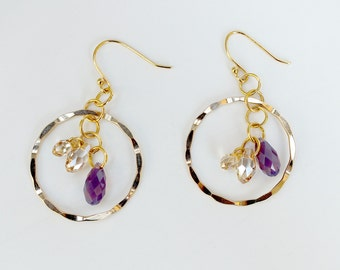 Gold Filled Drop Earrings with Colorful Swarovski Crystal Briolettes- EA 113