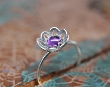 Blooming Flower Gemstone Stacking Ring. Pretty sterling silver floral stacking ring with a gemstone center. Springtime jewelry.
