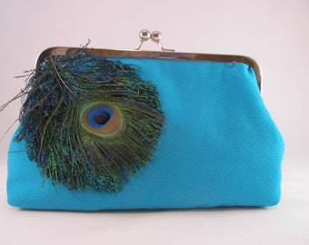Peacock Clutch Purse-Purse-Clutch-Handbag-Kisslock-8 inch