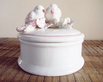 White and Pink Vintage Italian Pottery Box with Lovebirds