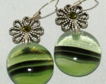 Fused Glass Earrings - Electric green flowers.