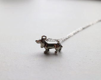 Daschund Necklace. personalized initial daschund necklace. dog necklace. Dachshund dog necklace
