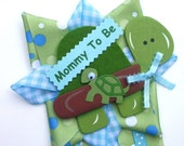 Turtle Baby Shower Corsage in Blue and Green for a Baby Boy - Ready To Ship