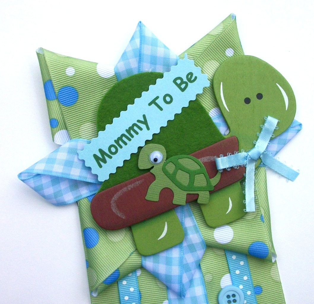 turtle baby shower corsage in blue and green for a baby boy