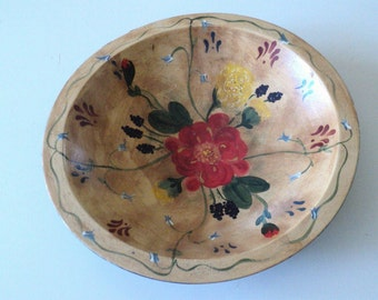 Primitive Hand Painted Wooden Bowl with Floral Motif