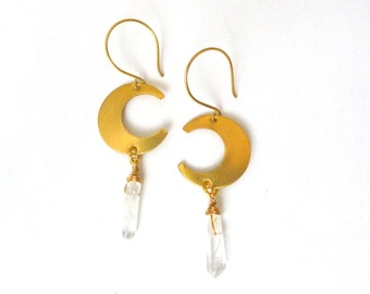 Luna Earrings - Golden Brass Crescents with Wire-Wrapped Clear Quartz, Moon Earrings