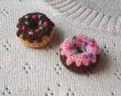 Crochet Donut Brooch - Choose One: Pink Glazed Chocolate Donut Amigurumi Pin - Chocolate Frosted Mini Donut Crochet Brooch